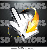 Vector Clipart of a 3d Orange Arrow Circling Around a Hand Cursor, on a Black Lined Background by Beboy