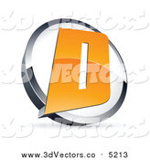 Vector Clipart of a 3d Orange Letter D in a Circle by Beboy