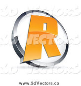 Vector Clipart of a 3d Orange Letter R in a Circle by Beboy