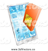 Vector Clipart of a 3d Orange Sim Card and a Smart Phone by AtStockIllustration