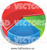 Vector Clipart of a 3d Pie Chart in Thirds, Red, Green and Blue by Vector Tradition SM