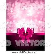 Vector Clipart of a 3d Pink Day Gift Ribbon with Copyspace and Pink Sparkles by KJ Pargeter