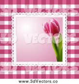 Vector Clipart of a 3d Pink Tulip Picture over Magenta Gingham Plaid by Elaineitalia