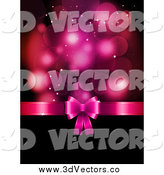 Vector Clipart of a 3d Pink Valentines Day Gift Bow and Ribbon Dividing Flares and Black Copyspace by KJ Pargeter
