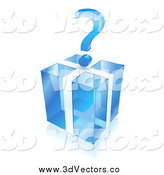 May 5th, 2014: Vector Clipart of a 3d Question Mark over a Blue Cube Gift Box by Oligo