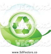 Vector Clipart of a 3d Recycle Symbol in a Bubble on a Green Leaf by Beboy