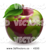 Vector Clipart of a 3d Red Apple Earth Globe with Green Continents by AtStockIllustration