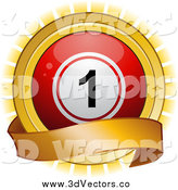 Vector Clipart of a 3d Red Bingo Ball and Gold Banner over a Burst by Elaineitalia