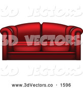 Vector Clipart of a 3d Red Couch by Vectorace
