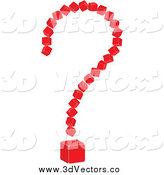 Vector Clipart of a 3d Red Cubic Question Mark by Andrei Marincas