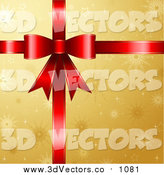 Vector Clipart of a 3d Red Gift Ribbon and Bow over Golden Snowflake Paper by KJ Pargeter