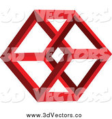 Vector Clipart of a 3d Red Hexagon by Vectorace