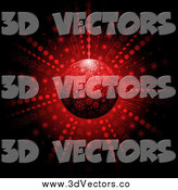 Vector Clipart of a 3d Red Snowflake Christmas Bauble and Burst by Elaineitalia
