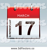 Vector Clipart of a 3d Red St Patricks Day March 17 Desk Calendar by Michaeltravers