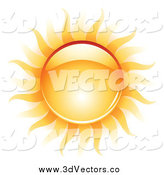 Vector Clipart of a 3d Reflective Summer Sun and Heat Waves by TA Images