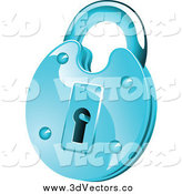 June 14th, 2015: Vector Clipart of a 3d Round Shiny Blue Padlock by Vector Tradition SM