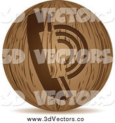 Vector Clipart of a 3d Round Wooden Telephone Icon by Andrei Marincas
