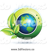 Vector Clipart of a 3d Shiny American Earth with Dewy Green Leaves and a Green Circle by Beboy