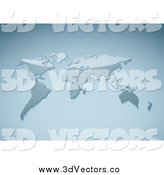 Vector Clipart of a 3d Shiny Blue World Atlas Map by Michaeltravers