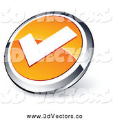 Vector Clipart of a 3d Shiny Orange, White and Chrome Check Mark App Button by Beboy