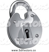 Vector Clipart of a 3d Shiny Round Padlock by Vector Tradition SM