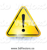 Vector Clipart of a 3d Shiny Yellow Attention Sign with an Exclamation Point by Oligo