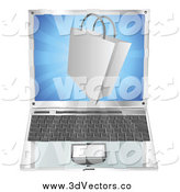 Vector Clipart of a 3d Shopping Bag Emerging from a Laptop by AtStockIllustration