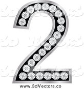 Vector Clipart of a 3d Silver and Diamond Number Two by Andrei Marincas