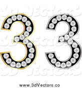 Vector Clipart of a 3d Silver and Gold Diamond Number Threes by Andrei Marincas