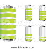 Vector Clipart of a 3d Silver and Green Batteries at Different Charges by Andrei Marincas