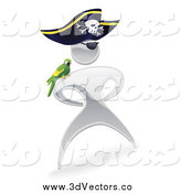 Vector Clipart of a 3d Silver Captain Pirate Man with a Parrot by AtStockIllustration