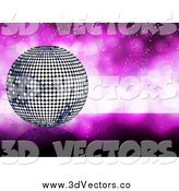 Vector Clipart of a 3d Silver Disco Ball and a Sparkly Purple Background by Elaineitalia
