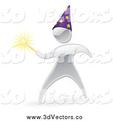 June 16th, 2014: Vector Clipart of a 3d Silver Magician with a Wand by AtStockIllustration