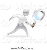 Vector Clipart of a 3d Silver Man Searching with a Magnifying Glass by AtStockIllustration
