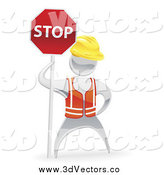 Vector Clipart of a 3d Silver Road Construction Worker with a Stop Sign by AtStockIllustration