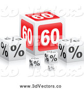 Vector Clipart of a 3d Sixty Percent Retail Cubes by Andrei Marincas