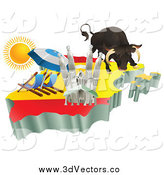 Vector Clipart of a 3d Spanish Tourist Attractions on a Flag Map of Spain by AtStockIllustration