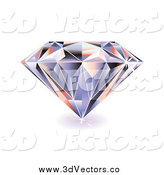Vector Clipart of a 3d Sparkling Diamond by Michaeltravers