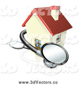 Vector Clipart of a 3d Stethoscope Around House by AtStockIllustration