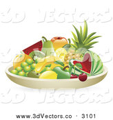Vector Clipart of a 3d Still Life Bowl of Tropical Fruit by AtStockIllustration