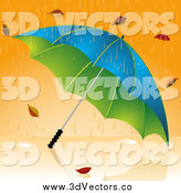 July 5th, 2015: Vector Clipart of a 3d Umbrella Pounded with Rain and Autumn Leaves by Elaineitalia