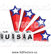 Vector Clipart of a 3d USA Blocks and American Shooting Stars by Andrei Marincas