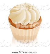 Vector Clipart of a 3d Vanilla Cupcake with White Frosting and a Wrapper by AtStockIllustration