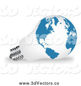June 21st, 2014: Vector Clipart of a 3d White and Blue Map Light Bulb by Vectorace