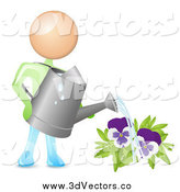 Vector Clipart of a 3d White Man Holding a Can and Watering Purple Pansies by Oligo