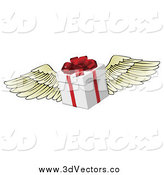 Vector Clipart of a 3d Winged Gift Box by AtStockIllustration