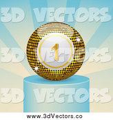 Vector Clipart of a 3d Winning Gold Bingo Ball on a Podium by Elaineitalia