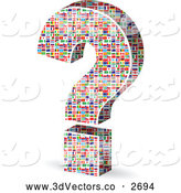 Vector Clipart of a 3d World Flag Patterned Question Mark by Andrei Marincas