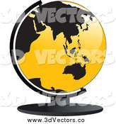 July 6th, 2014: Vector Clipart of a 3d Yellow and Black Asia and Australia Globe by Vector Tradition SM
