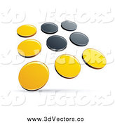 Vector Clipart of a 3d Yellow and Black Dots Panel by Beboy